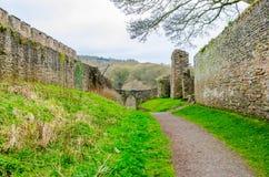 Lulow城堡墙壁,萨罗普郡,英国,英国 免版税图库摄影
