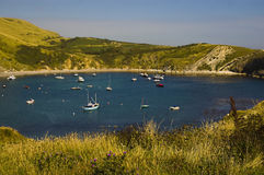 Lulworth Bay, UK. A wide angle view of Lulworth Bay situated near Weymouth, UK Stock Photo
