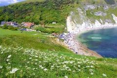 Lulworth Cove - Beautiful beaches of Dorset, UK. Lulworth Cove and beaches of Jurassic coast in England stock photo