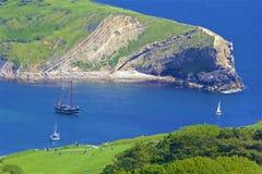 Lulworth Cove - Beautiful beaches of Dorset, UK. Lulworth Cove and beaches of Jurassic coast in England stock photography