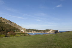 Lulworth Cove, Dorset. Lulworth Cove on the Jurassic Purbeck south coast of England Stock Photos