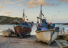 Lulworth cove fishing boats Royalty Free Stock Photos
