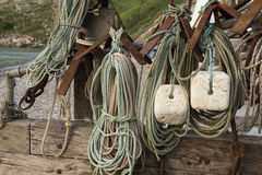 Lulworth cove fishing equipment Royalty Free Stock Photos