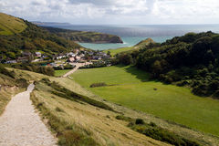 Lulworth Cove from South-West coastal path Royalty Free Stock Photography