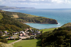 Lulworth Cove from South-West coastal path. If you walk one mile you will arrive at Drdle Door Dorset Royalty Free Stock Photos