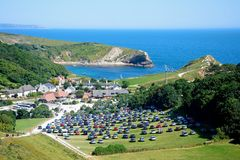 Lulworth Cove and village. stock images