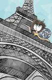 Lumaca alla torre Eiffel Fotografia Stock Libera da Diritti