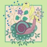 Lumaca in fiori, nel telaio, colori pastelli, illustrazione, modello per i vestiti Immagini Stock Libere da Diritti