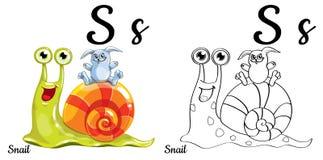 Lumaca Lettera S, pagina di coloritura di alfabeto di vettore Royalty Illustrazione gratis