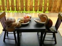 Lumache dell'uva con la mobilia della bambola Fotografia Stock