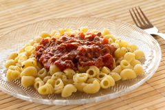 Lumache pasta with bolognese sauce Royalty Free Stock Photography