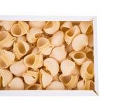 Lumaconi italiano crudo della pasta in scatola di cartone Fotografia Stock