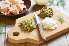 Lumaconi pasta with baked salmon, pickles and capers. Cooking process. Step 3. Chopped ingredients Stock Images
