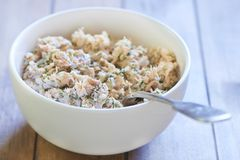 Lumaconi pasta with baked salmon, pickles and capers. Cooking process. Step 4. Stuffing mix Stock Images