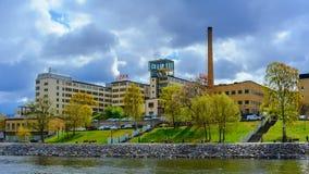 Lumafabriken works The Luma Factory, a historic modernist lamp factory. Sodra Hammarbyhamnen, Stockholm, Sweden. STOCKHOLM, SWEDEN - May 03, 2019: Lumafabriken stock images