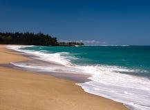 Lumahai beach on Kauai. Waves breaking onto Lumaha'i beach on the north coast of Kauai royalty free stock photography