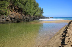 Lumahai Creek meets Pacific Royalty Free Stock Photography