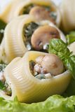Lumakoni pasta stuffed with mushrooms, cheese and spinach macro Royalty Free Stock Photos
