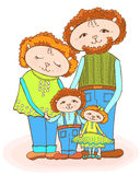 Lumb mom dad baby color. Funny drawing of the family of sheep, mom, dad, daughter and son, red-haired in bright green and in denim, vector doodle Royalty Free Stock Photos