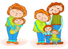 Lumb mom dad baby newborn. A set of funny animals - a sheep mom with a newborn and a family of red-haired sheep from mom, dad and two children, a vector outline Stock Image