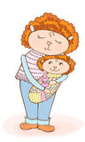 Lumb mum daughter. Drawing of a cute cartoon mom lamb with a baby in a diaper vector, tender colors pink, blue, and yellow clothes, red curly hair Stock Image