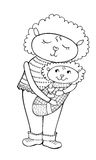 Lumb mum. Drawing of a cute cartoon mom lamb with a baby in a diaper vector, black in white background Stock Image