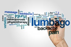 Lumbago word cloud. Concept on grey background Royalty Free Stock Photo