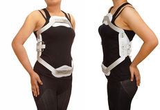 Lumbar jewet braces ,hyperextension brace for back truma or fracture thoracic and lumbar spine stock photography