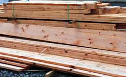 Lumber. New ,umber at a construction site Royalty Free Stock Photo