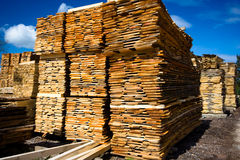 Lumber. Collection on blue sky as background Royalty Free Stock Image