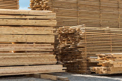 Lumber, boards and timber lie Stock Images