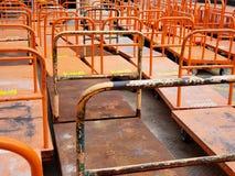 Lumber carts. Rows of lumber loading carts at a home improvement store Royalty Free Stock Photos