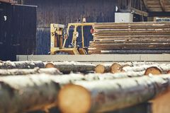 Timber at the sawmill. Lumber industry. Stack of the timber at the sawmill Stock Images