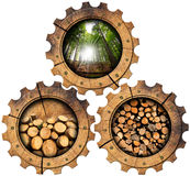 Lumber Industry - Wooden Gears. Three wooden gears with green forest, trunks of trees cut and stacked, dry cut firewood logs in a pile. Isolated on white Royalty Free Stock Photos