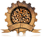 Lumber Industry - Wooden Icon. Wooden icon in the shape of gear with dry cut firewood logs in a pile inside, empty wooden ribbon for text.  on white background Royalty Free Stock Photos