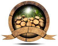Lumber Industry - Wooden Icon. Wooden icon with trunks of trees cut and green forest with sun rays, empty wooden ribbon for text.  on white background Stock Photo