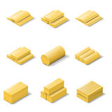 Lumber isometric detailed icon set Royalty Free Stock Photo