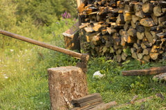 Chopping firewood Stock Photo