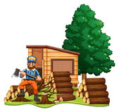 Lumber jack chops woods. Illustration Stock Images