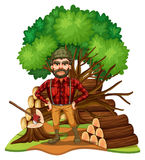 Lumber jack and firewood in the field. Illustration Stock Photo