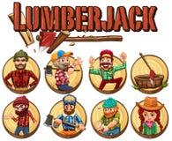Lumber jack set on round badges. Illustration Royalty Free Stock Image