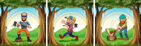 Lumber jacks chopping woods. Illustration vector illustration