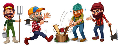 Lumber jacks and farmer characters stock illustration