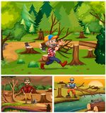 Lumber jacks working in the forest. Illustration Stock Images
