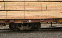 Lumber Loaded Railroad Car Transportation Boxcar Construction Stock Photography