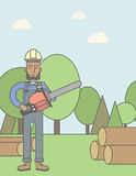 Lumber-man. An african-american lumber-man with a chainsaw on a forest background. Vector line design illustration. Vertical poster layout with a text space Royalty Free Stock Photography