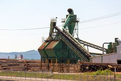 Lumber Mill Sawdust Machinery Royalty Free Stock Photos