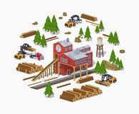 Lumber mill. Sawmill building Stock Image