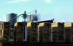 Lumber Mill and Stacked Boards. Stacked boards outside a Lumber Mill Stock Photos