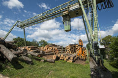 Lumber mill. With lumber yard Stock Photo